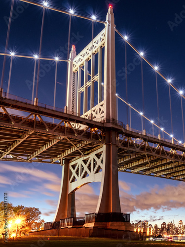 Triborough Bridge at night, in Astoria, Queens, New York. USA Canvas Print