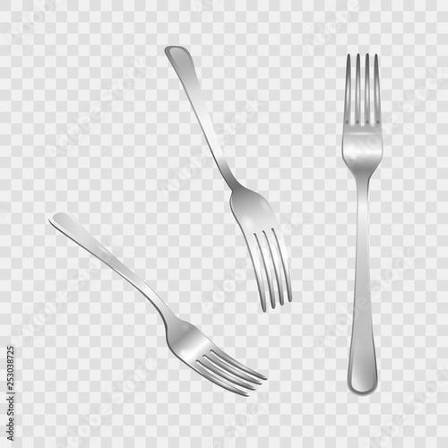 Fotografie, Obraz  Set of realistic metal forks