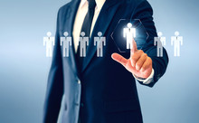 Businessman Touching Person Virtual Button About The Concept Of Recruiting Person And Personal Development.