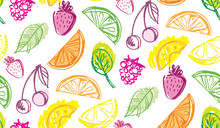 Hand Drawn Doodle Fruit Pattern Background - Smoothie Fresh Cocktail