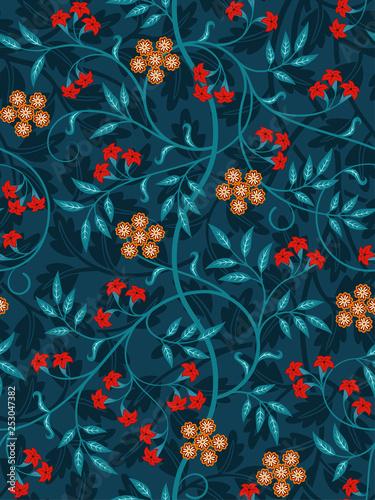 Carta da parati Vintage floral seamless pattern on dark background
