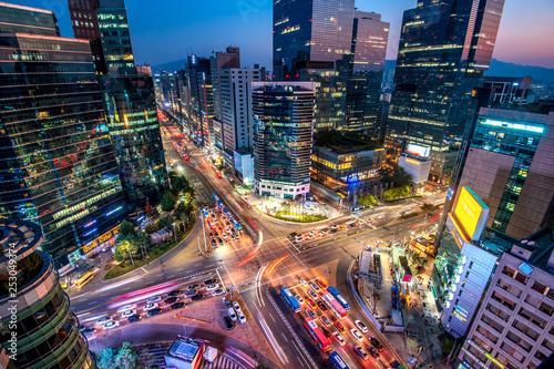 Fotografía  night view of gangnam square in Seoul South Korea