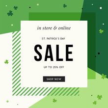 St. Patrick's Day Sale Banner For Instagram And Social Media, Ads, Email Design, Web Site, Flyer, Shop Poster, Display, Advertising Print, Promotional Material And Announcement.