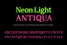 Neon Tube Alphabet Typeface. N...