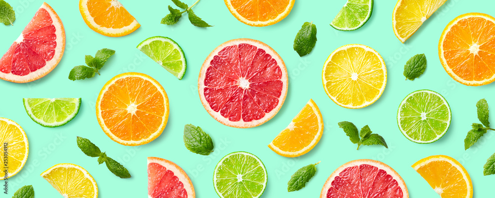 Fototapety, obrazy: Colorful pattern of citrus fruit slices and mint leaves