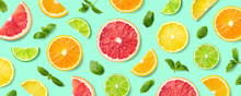 Colorful Pattern Of Citrus Fru...