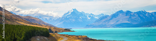Mount cook view point with the lake pukaki and the road leading to mount cook village view point with the lake pukaki and the road leading to mount cook village in South Island New Zealand. - 253054907