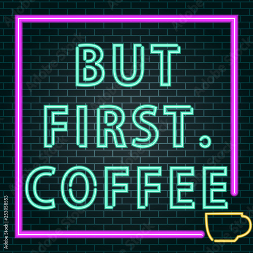 Deurstickers Retro sign coffee neon sign