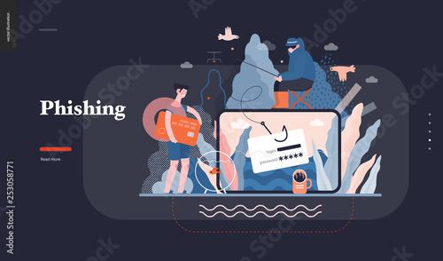 Fotografía Technology 3 - Phishing - flat vector concept digital illustration of phishing scam metaphor