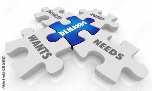 Fotografie, Obraz  Demands Wants Hopes Desires Puzzle Pieces 3d Illustration
