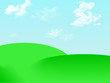Leinwanddruck Bild - green landscape with hills and blue sky