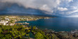 canvas print picture - Aerial panorama of the city of Kailua Kona with rainbow in the sky. Big Island, Hawaii