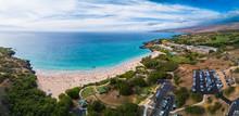 Aerial Panorama Of The Hapuna Beach State Park. West Coast Of The Big Island, Hawaii