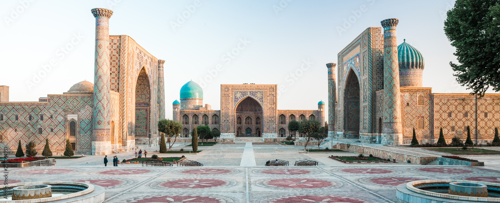 Fototapety, obrazy: Panorama of Registan square in the city of Samarkand at sunrise, Uzbekistan