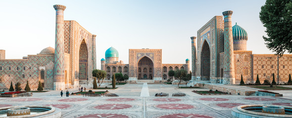 Panorama of Registan square in the city of Samarkand at sunrise, Uzbekistan