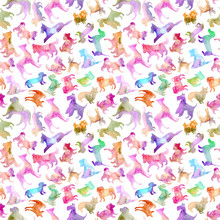 Seamless Pattern Of A Dog Silh...