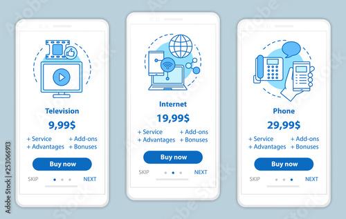 Photo TV, phone, internet bundle onboarding mobile app screens