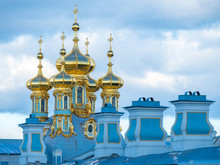 St. Petersburg. Russia. Catherine Palace In Pushkin. Church Of The Resurrection Of Christ In Tsarskoye Selo. Church Domes Close-up Against The Sky. Summer. Cities Of Russia. Church Of St. Petersburg.