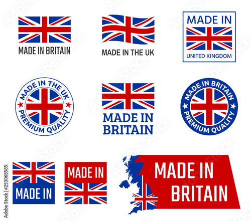 Carta da parati made in United Kingdom, Great Britain product emblem