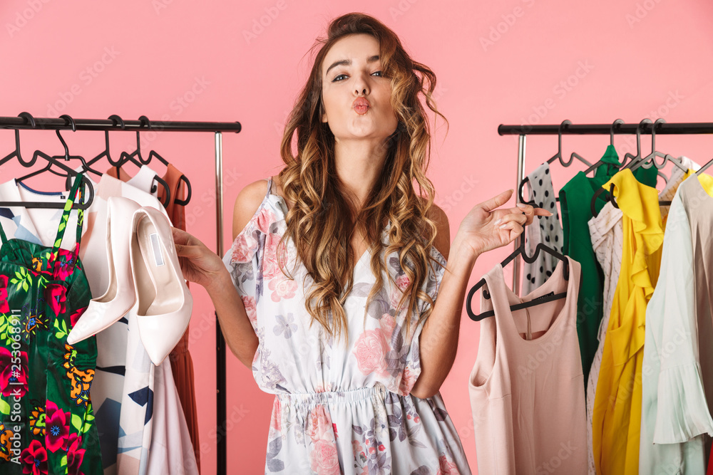 Fototapety, obrazy: Photo of trendy woman near wardrobe with clothes choosing what to wear