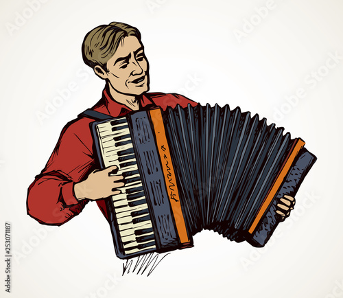 A man plays the accordion. Vector drawing Wallpaper Mural