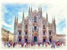 Duomo Di Milano Watercolor Painting