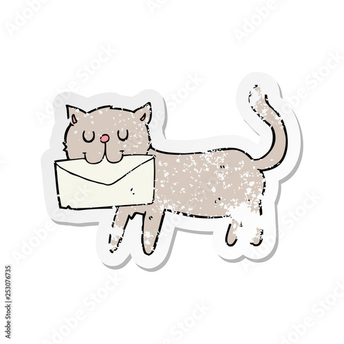 retro distressed sticker of a cartoon cat carrying letter