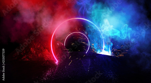 Space futuristic landscape. Fiery meteorites, sparks, smoke, light arches. Dark background with light element in the center. Silhouette of a man, a reflection of neon lights.  3d rendering. - 253077339