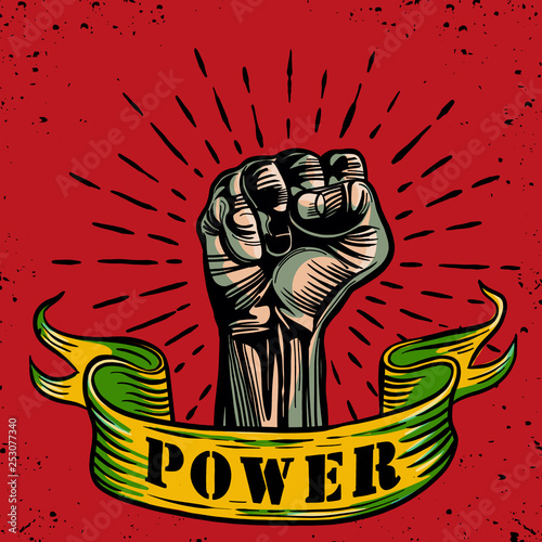 Valokuva  Freehand vector drawing ,Fist male hand, proletarian protest symbol