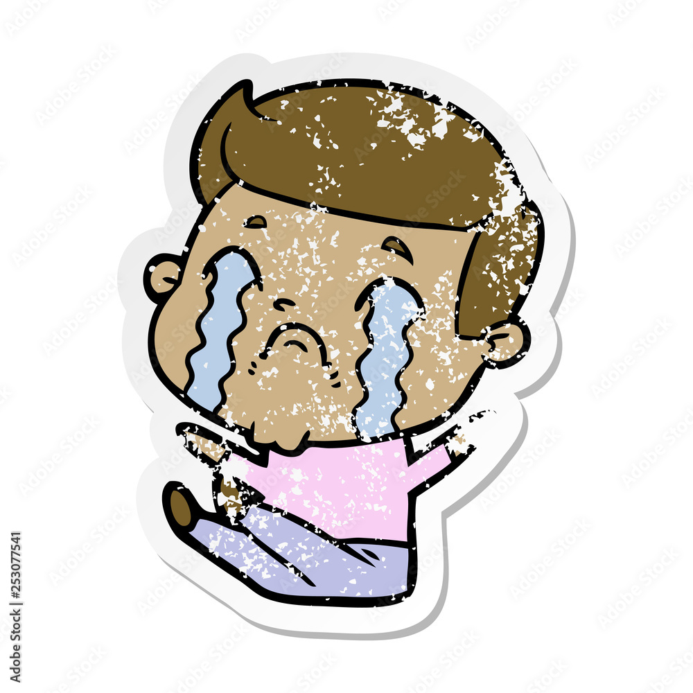 distressed sticker of a cartoon man crying