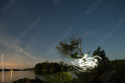 Photo  Light wrapped tree on lake