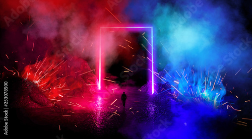 Space futuristic landscape. Fiery meteorites, sparks, smoke, light arches. Dark background with light element in the center. Silhouette of a man, a reflection of neon lights.  3d rendering. - 253078500