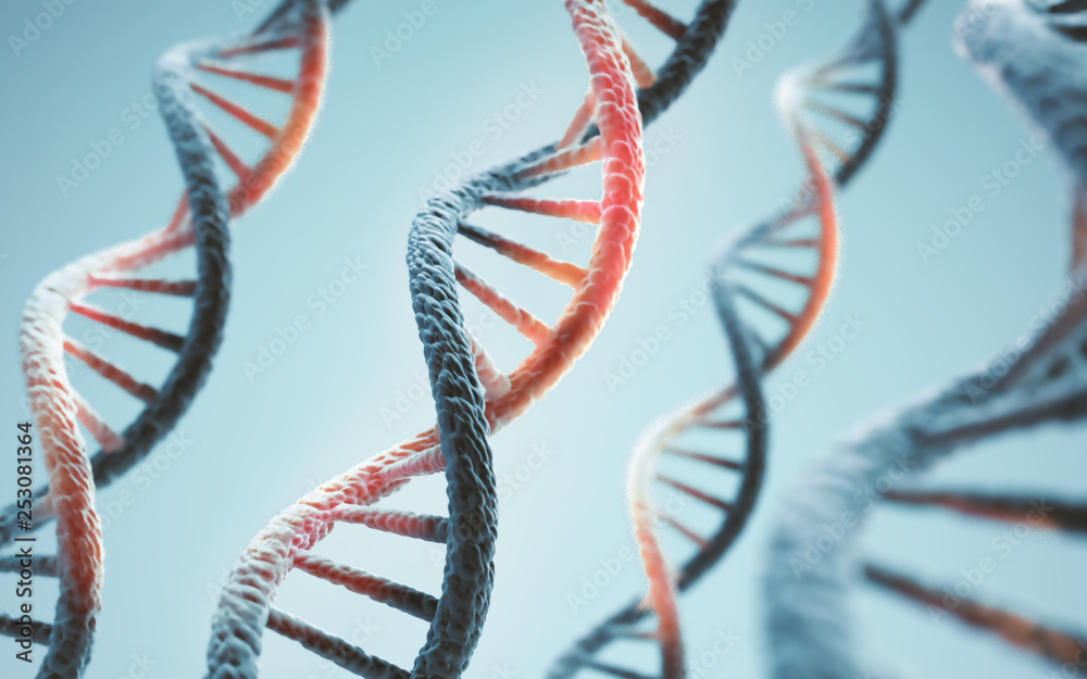 Fototapeta Concept of biochemistry with dna molecule, Abstract structure for Science or medical background.