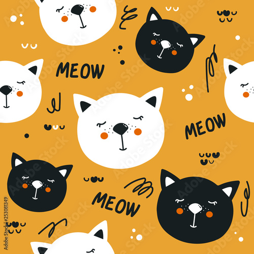 Sleeping cats, hand drawn backdrop. Colorful seamless pattern with animals. Decorative cute wallpaper, good for printing. Overlapping background vector. Design illustration