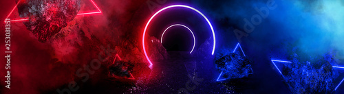 Stickers pour porte Fractal waves Space futuristic landscape. Fiery meteorites, sparks, smoke, light arches. Dark background with light element in the center. Silhouette of a man, a reflection of neon lights. 3d rendering.