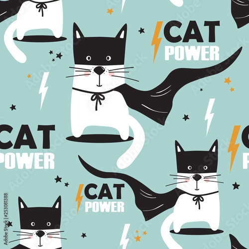 Cats, hand drawn backdrop. Colorful seamless pattern with animals, stars. Decorative cute wallpaper, good for printing. Overlapping background vector. Design illustration, cat power