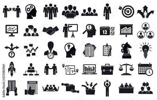 Fototapeta Business planning meeting system icons set. Simple set of business planning meeting system vector icons for web design on white background obraz