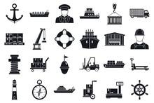 Marine Port Transport Icons Set. Simple Set Of Marine Port Transport Vector Icons For Web Design On White Background