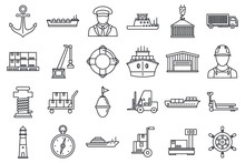 Marine Port Transport Icons Set. Outline Set Of Marine Port Transport Vector Icons For Web Design Isolated On White Background