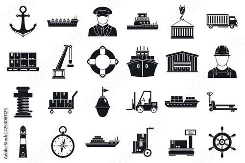 Canvas Print Marine port transport icons set
