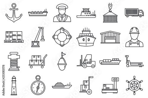 Obraz na płótnie Marine port transport icons set