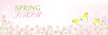 """Blooming Cherry Blossoms Background With Two Butterflies, Including Words """"Spring Fair"""" - Header Ratio"""