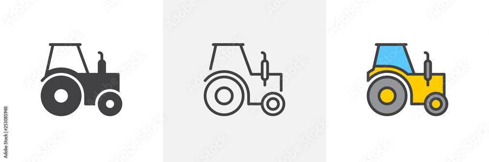 Ikona ciężarówki ciągnika. Linia, glif i wypełniona konturowa wersja kolorowa, kontur ciągnika rolniczego i wypełniony znak wektora. Symbol, ilustracja logo. Zestaw ikon różnych stylów. Pixel perfect vector graphics <span>plik: #253085948 | autor: alekseyvanin</span>