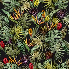 Panel Szklany Kwiaty Seamless pattern with colorful exotic flowers and green tropical leaves. Hand drawn vector on black background.