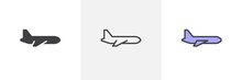 Airplane Side View Icon. Line,...