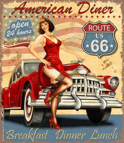 American Diner vintage poster with retro car and pin-up girl. Wallpaper Mural