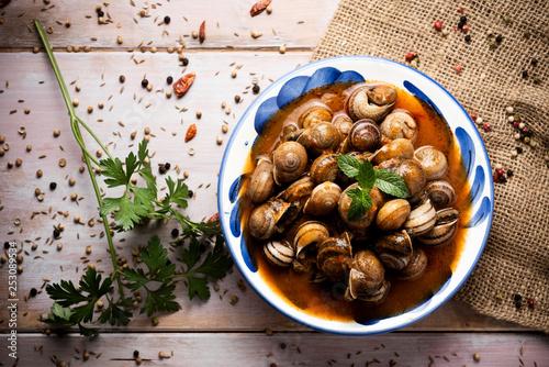 Fotografie, Obraz  spanish caracoles en salsa, cooked snails in sauce