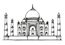 Taj Mahal, India Hand Drawn Illustration