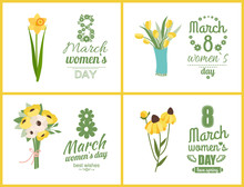 Greeting Postcard Decorated By Yellow Flowers, Bouquet Of Tulip, Daisy And Violet, Peony On White. Colorful Spring Plants, Natural Decoration Vector. 8 March. Early Spring And Summer Flower
