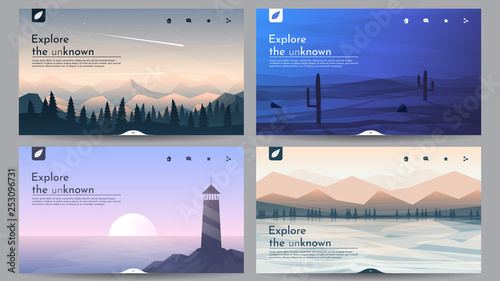 Photo sur Aluminium Taupe Vector landscapes in a minimalist style